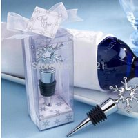 Wholesale set wedding favor Snowflake Bottle Stopper in Shimmering Gift Box to US and Europen country by Fedex