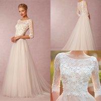 3 4 sleeve plus size wedding dresses - Spring Simple Wedding Dresses A Line Cheap Sleeve Plus Size Scoop Tulle Lace Applique Ivory Beach High Low Wedding Bridal Gowns