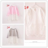 Wholesale 2016 Children girls bottoming shirts long sleeve cotton T shirt lace openwork girls inside shirt for sales A022229