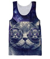 basketball jersery - New Fashion Women Men Big Blue Glasses Cat Tank Tops Funny d Basketball Vest Animal Galaxy Bodybuilding hip hop Jersery