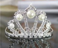 rhinestone hair comb - Little Girl Princess Crystal Rhinestone Pearls Crown With Comb Girls Head Piece Wedding Party Hair Accessory Birthday Daily Crown WZ