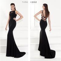 Cheap 2015 Mermaid Tarik Ediz Evening Dresses Sheer Back Lace High Neck Satin Evening Gowns Dhyz 01