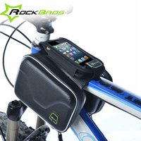 Wholesale RockBros Carbon Pattern Waterproof Bike Bicycle Frame Front Head Top Tube Bag Cycling Pannier Cell Phone Smartphone Case