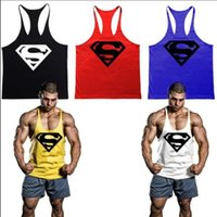 Wholesale Newest Superman Brand Bodybuilding Tank Top Men Fitness Sleeveless T Shirt Cotton Vest Men Gym Tank Tops Sports Drop shipping