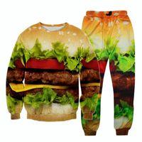 sweatsuits - Raisevern new funny food print D tracksuit hamburger pieces set sweatshirt joggers sweatsuits men women track suit outwear