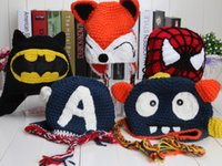 Wholesale Handmade Despicable me minion superman spiderman batman Knitted crochet wool hat with ear flap Children Crochet Children s Caps Hats