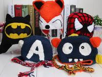 Unisex handmade crochet hats - Handmade Despicable me superman spiderman batman Knitted crochet wool hat with ear flap Children Crochet Children s Caps Hats