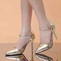 Wholesale Shoes Womens Pointed Toe Faux Leather Sexy High Heels Shoes Wedding Thin Heels Pumps Femininos Size TZ0168 kevinstyle