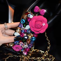 big apple diamonds - Camellia Bowknot Perfume Bottle Design Colorful Rhinestone Big Diamond Case Cover Super Bling Gorgeous Shell Case For iPhone s s plus