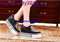 Cheap highquality2015 casual Elevator fashion sexy rhinestone women high platform shoes white and black,lady nice design shoes size 35-40