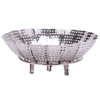 Wholesale Stainless steel multifunctional steamer plate silver magic retractable folding steaming fruit plate disk IC679584