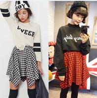 Cheap 20pcs lot 2015 Korean Harajuku Style Retro All-match Stylenanda College Plaid Irregular High Waist Pleated Short Skirts Women Casual Wear