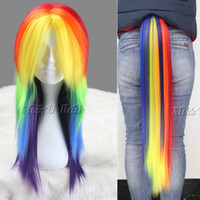 Wholesale Little Pony Rainbow Dash Long Straight Anime Cosplay Wig Claw Ponytail Set