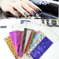 aluminum foil adhesive - New Fashion Sexy Colorful Nail Foil Paper Stickers Aluminum Adhesive Acrylic Gel Tips Nail Decals Decorations Tools xk01