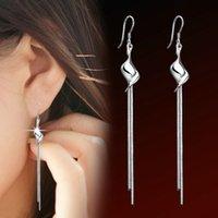 Wholesale 2015 New Brand Silver Alloy Long Tassel Earrings Twisted Design Dangle Earrings For Women Statement Jewelry