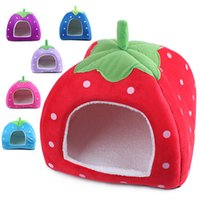 Cloth beds - Colors Soft Sponge Strawberry Pet House For Dog Cat Lovely Warm Pet Cage Supplies With S M L Size