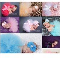 photo props - w5 Newborn Headdress Flower Tutu Dress Clothes Skirt Baby Girls Photo Prop Outfits