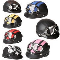 Wholesale Men Women Motorcycle Helmet Open Face Bike Bicycle Helmet Scooter Half Leather Helmet with Visor Goggles Retro cm