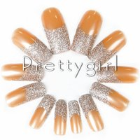 baby art kit - Baby Orange French Nail Tips False Nails tips Nail Art Charm Glittery Fake Nail Tip Acrylic Powder Set Kit