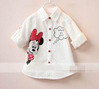 girls white shirts - Girl Shirts Cartoon Lapel Long Sleeve Blouse Children Clothing T