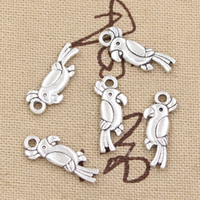 antique parrot - 200pcs Charms parrot bird mm Antique Zinc alloy pendant fit Vintage Tibetan Silver DIY for bracelet necklace