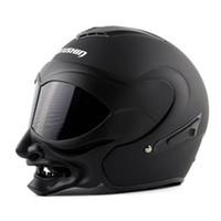 Wholesale MARUSHIN C609 Grimace Samurai helmets open face motorcycle helmet double lens vintage flip up racing helmet capacetes casco ECE