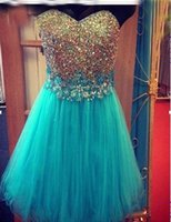 Cheap Cute Blue Sweetheart Tulle Short Homecoming Dresses 2015 Corset Cheap Prom Dresses Shimmering Crystal Beads Formal Dresses Custom Made