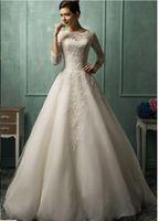 Cheap 2015 Wedding Dresses Amelia Sposa High Neck Sheer 3 4 Long Sleeve Floor Length A Line Lace Bridal Gowns Formal Vestidos De Novia