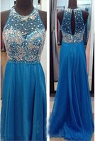 Cheap Royal Blue New Sexy Real Pictures Heavy Beading Crystal Chiffon Prom Dresses Long Evening Party Wedding Gowns
