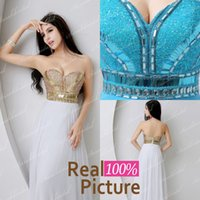 Wholesale 2015 IN STOCK White Blue Beaded Prom Evening Gowns with Backless A Line Sweetheart Sequins Pleated Formal Pageant Dresses for Party