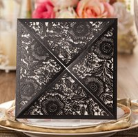elegant wedding invitations - Arab Black Laser Cut Wedding Invitations cards Vintage Design Elegant Personalized Bouquet Hollow Flower Invitation Free Envelope