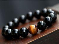 balance tiger - Natural Black Agate with Tiger eye Stone Beads Men Jewelry Bracelet Constellation Leo Lovers Energy Balance Bracelet B177