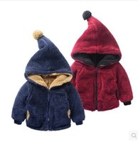 Wholesale New Hot Selling Autumn Winter Baby Girls Boy Lambs Wool Hooded Outerwear Reversible Jacket Thickness