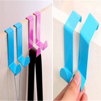 adhesive backed stainless steel - 2pcs stainless steel door back double wall hook for nail free door wood hook seamless coat rack traceless coat rack