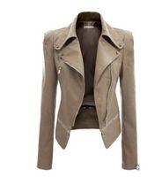 argyle pattern - Women Leather Jacket Rivet Zipper Motorcycle Jacket Turn Down Collar chaquetas mujer Argyle pattern Leather Jacket S XL