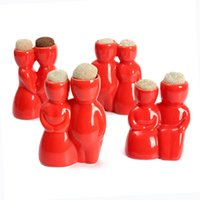 Wholesale New Red Lovers Flower Pot Novelty Ceramic Flowerpot For Plant Use For Home Office Desktop Decor Size