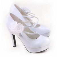 Preço Baixo Vestido Vendo Luxury Shoes Menina do clube nocturno Prom Vestidos Sapatos 4,8 polegadas de salto alto sapatos de casamento da noiva DY563-28 Branco