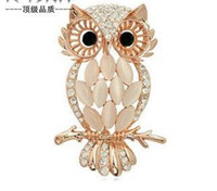 Wholesale Fashion K gold brooch silver jewelry fantasy owl grade crystal opal brooch pin collar pin brooch pectoral