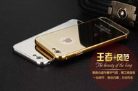 Wholesale Mirror Luxury Metal Aluminum Bumper Frame PC Back Cover for Apple iphone s s iphone s plus plus touch