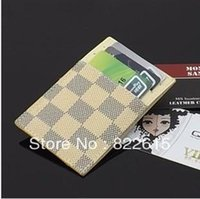 cheap wholesale purses - Genuine leather card holder ultrathin credit card wallet cheap cow split passport plaid business card holder purse