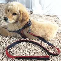 big dog collars and leashes - New Pet Dogs Collar Leashes Denim Collars Set Chest Strap Dog Safety Rope Chain Pets Supplies Small Medium And Big