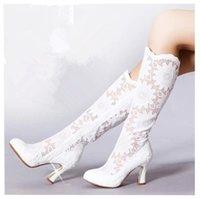 Wholesale 2014 New Lace Wedding Boots For Women Elegant Autumn Illusion Lace Zipper White Black Bridal Evening Party Shoes S11