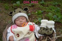 Wholesale DHL freeship Infant baby crochet caps shoes piece set suits toddler kids mouse model crochet winter warm hats baby cap hat J121101