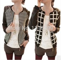 Cheap XXL~S Brand new grid casual short jacket womens Korea fashion blouse plus size joker students coat clothes woman