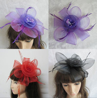 mini top hat hair clip - Vintage Hair Jewelry Headpiece Cocktail Party Feather Hair Clips Mini Top Hat Fascinato Barrettes Women Corsage Brooch Black Red Purple