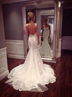 Cheap 2015 Boho Open Back Wedding Dresses Lace Wedding Dresses Spaghetti Straps Mermaid Bridal Gowns New Trends b1025