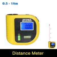 Wholesale Portable MINI Infrared Ultrasonic Distance Meter Rangefinder M Laser Pointer Digital Range Finder Measurer Area Volume tool