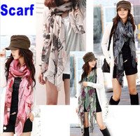 Wholesale Women Scarves Gray Begonia Flower Ink Style Long Cotton Girl Neck Scarf fashion Shawl H6004