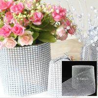 diamond mesh wrap - Wedding Decoration Silver Yards Diamond Mesh Wrap Roll Sparkle Rhinestone Ribbon For Table Decor