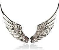 Wholesale 2015 New Car Stickers D Car Rear Side Sticker Emblem Badge Decor Metal Angel Wings Design Silver